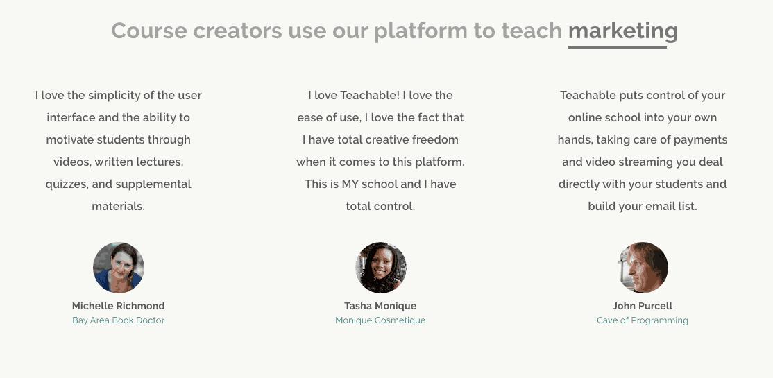 Screenshot showing testimonials for a platform