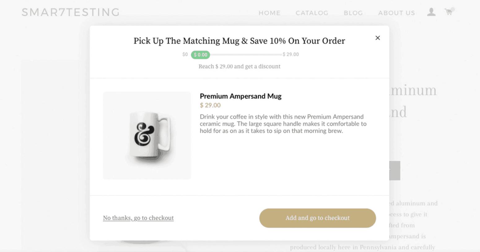 Screenshot showing an upsell offer