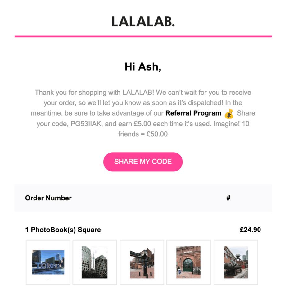 Screenshot showing a post-order message
