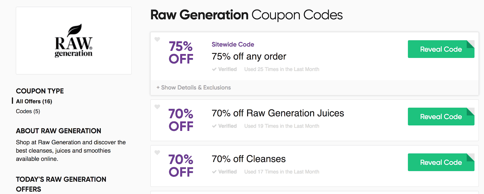 Screenshot showing coupon codes