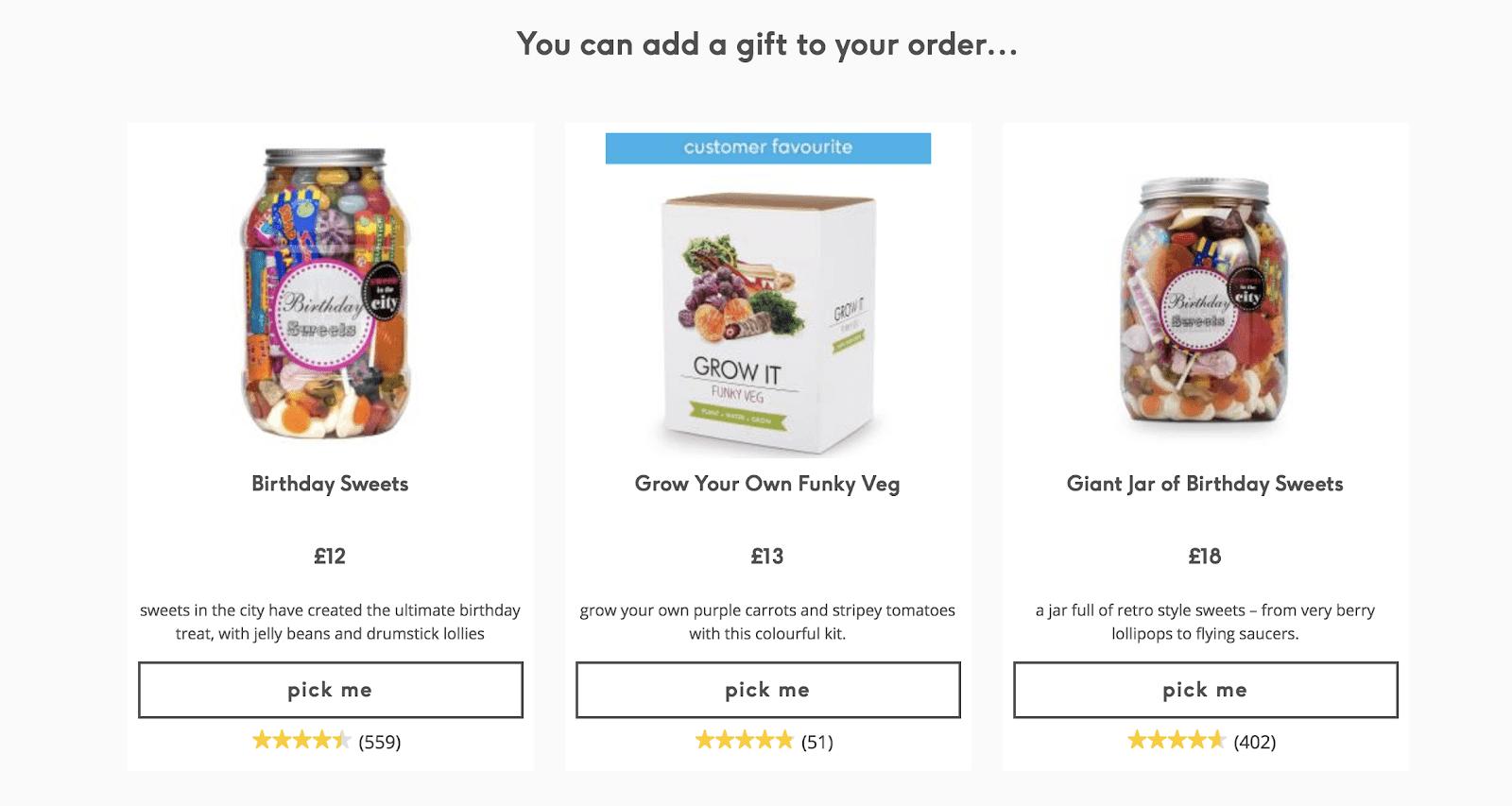 Screenshot showing a gift offer