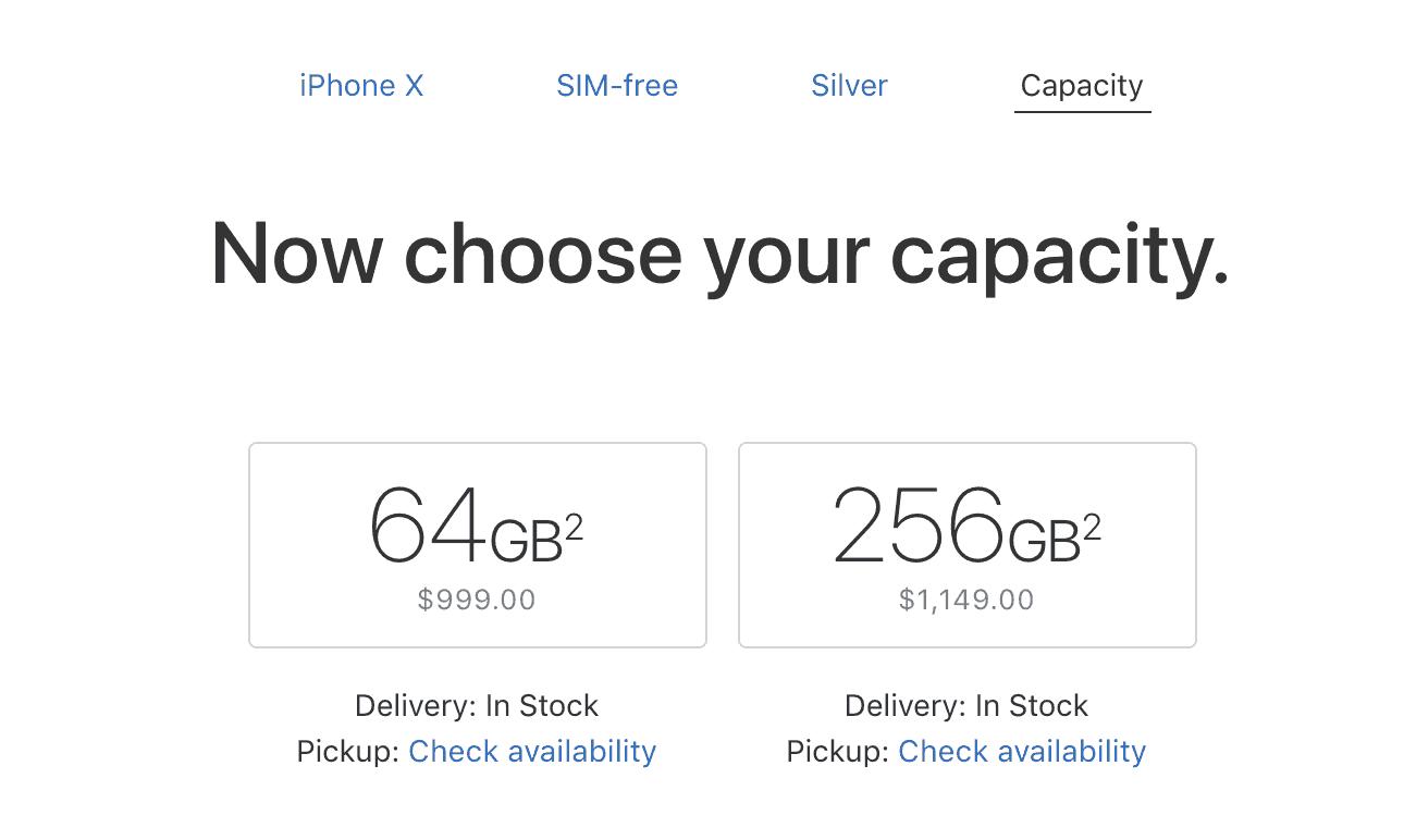 Screenshot showing iPhone capacity options